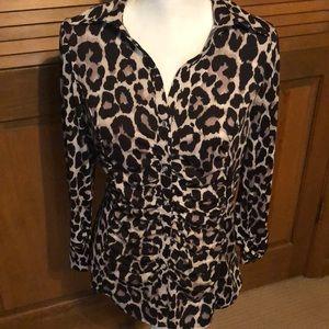 INC leopard print blouse size L